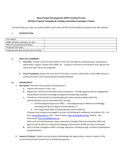 new product development funding proposal