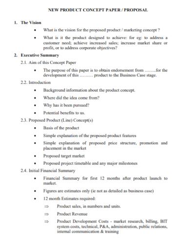 new product development paper proposal