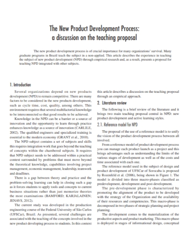 new product development teaching proposal