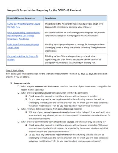 nonprofit essentials for financial planning