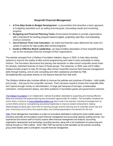 nonprofit financial budget planning