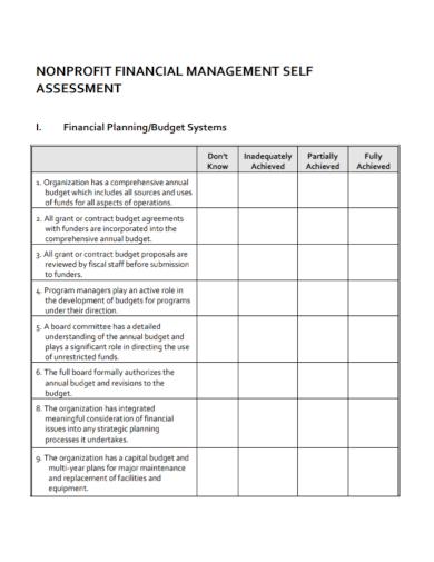 nonprofit financial management planning