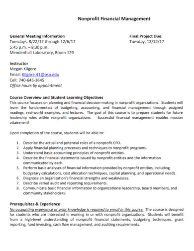 nonprofit financial management project planning