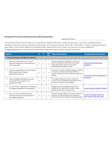 nonprofit financial self assessment planning
