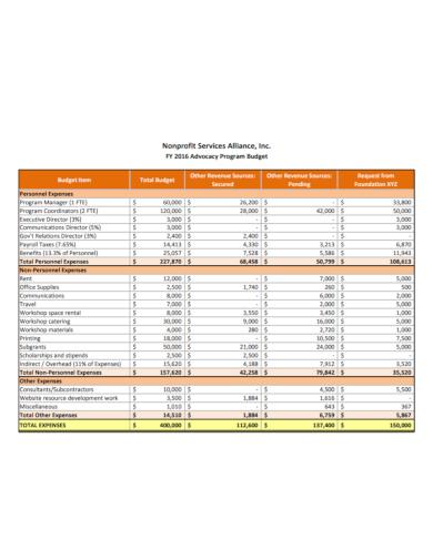 nonprofit services program budget