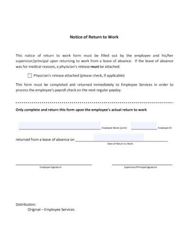 notice of return to work