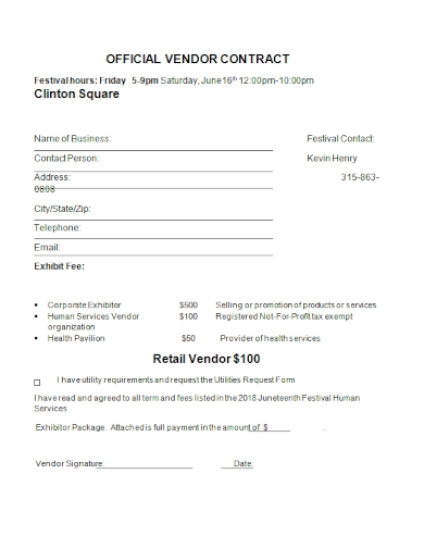 official retail vendor contract