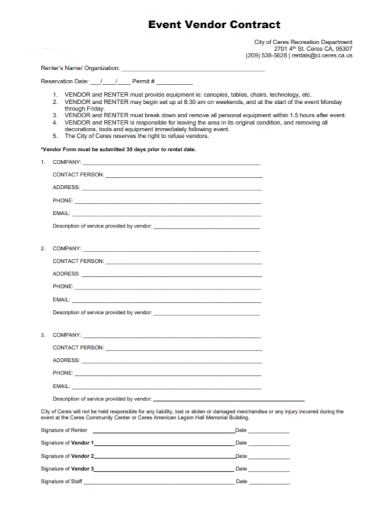 organization event vendor contract