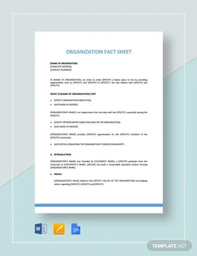 organization fact sheet template