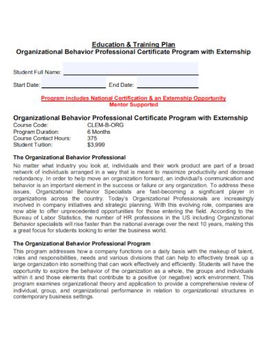 organizational behavior training plan