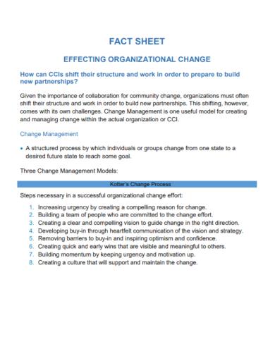 organizational change fact sheet