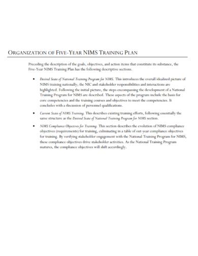 organizational five year training plan