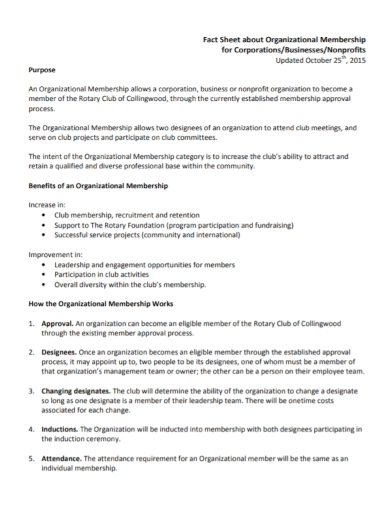 organizational membership fact sheet