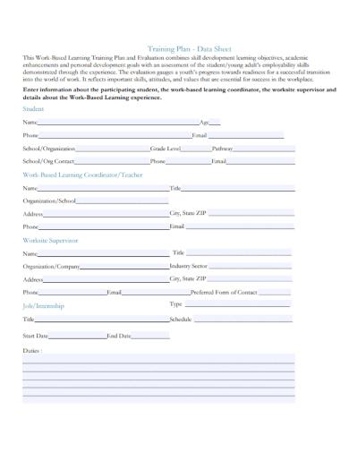organizational training plan data sheet