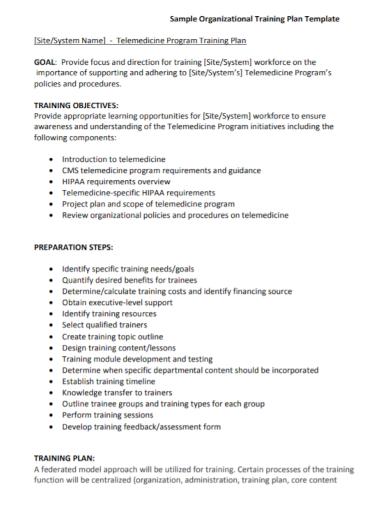organizational training plan