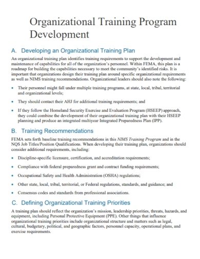organizational training program plan