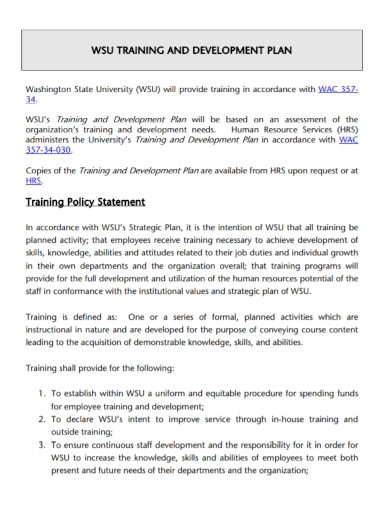 organizational training and development plan