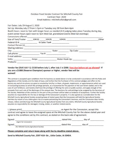 outdoor food vendor contract