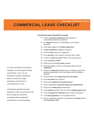 partnership commercial lease checklist