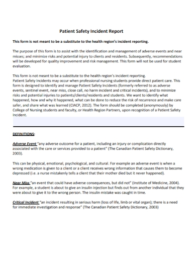 patient safety incident report