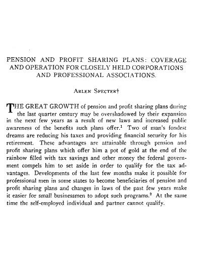 pension and profit sharing plan