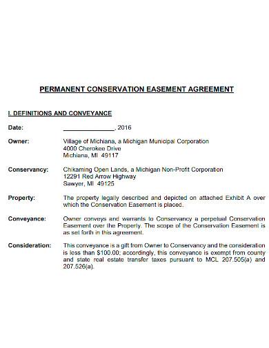 permanent conservation easement agreement