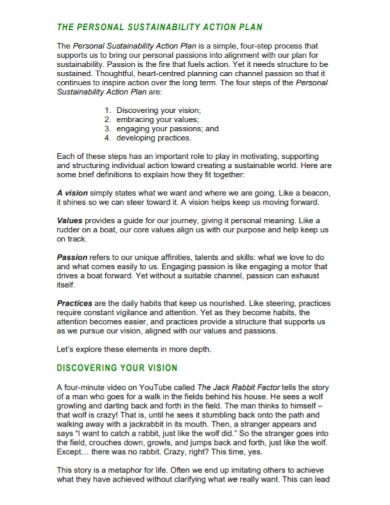 personal sustainability action plan