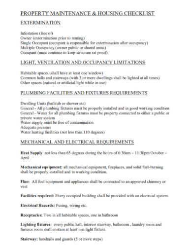 plumbing maintenance housing checklist