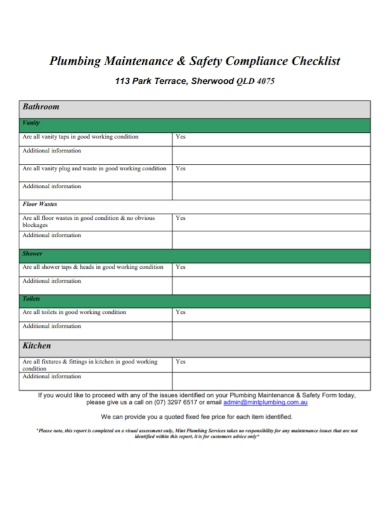 plumbing maintenance safety compliance checklist