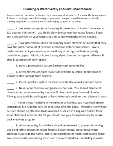 plumbing water safety maintenance checklist