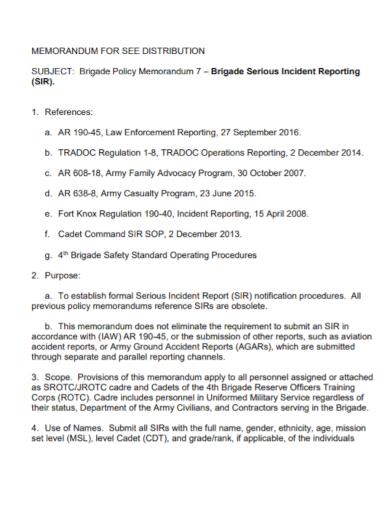 policy memorandum for serious incident report