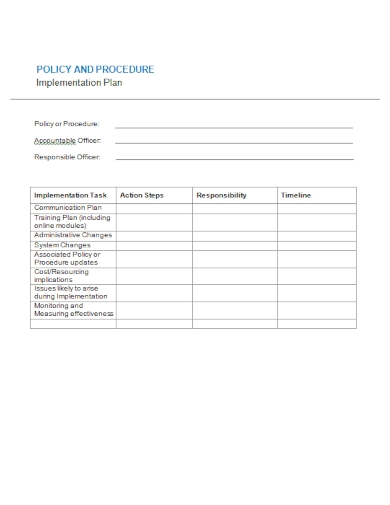 policy procedure implementation plan