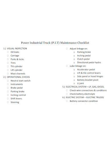 power industrial truck maintenance checklist