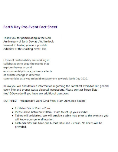 pre event fact sheets