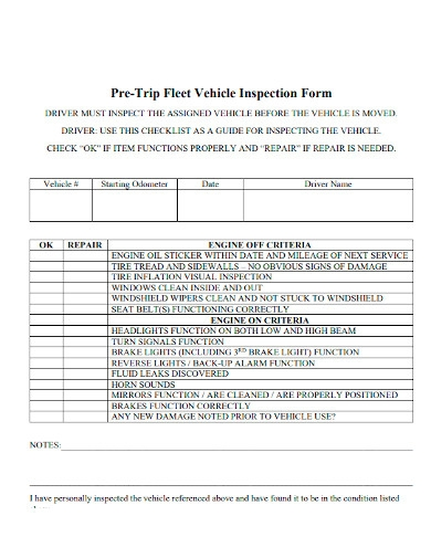 pre trip fleet vehicle inspection form sample