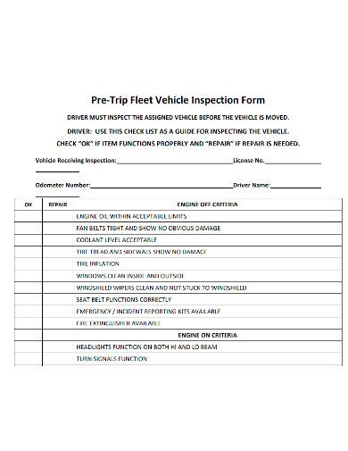pre trip fleet vehicle inspection form