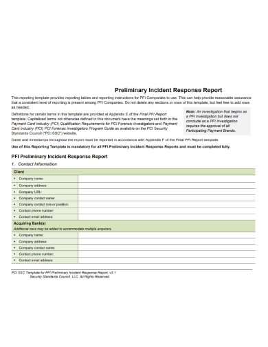preliminary security incident response report