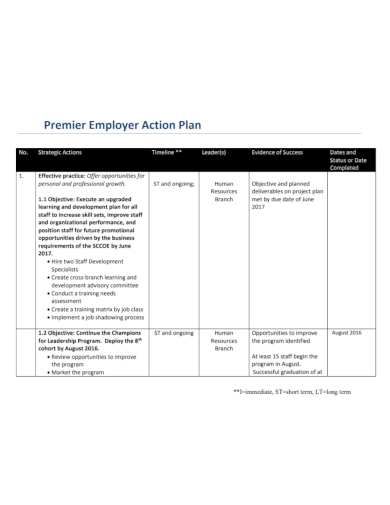 premier employer action plan