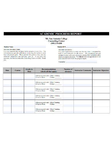 printable academic progress report