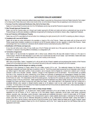 printable authorized dealer agreement