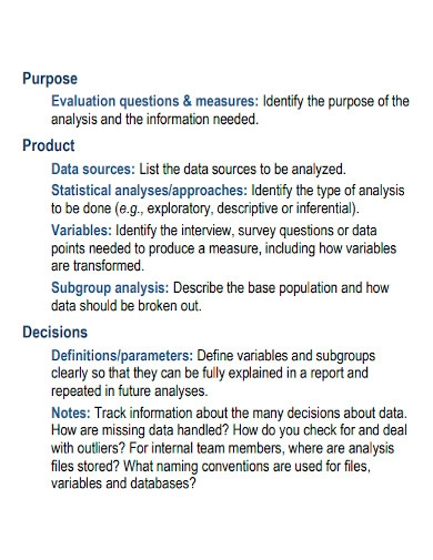 printable data analysis plan