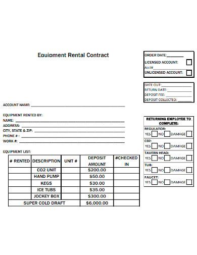 printable equipment rental contract
