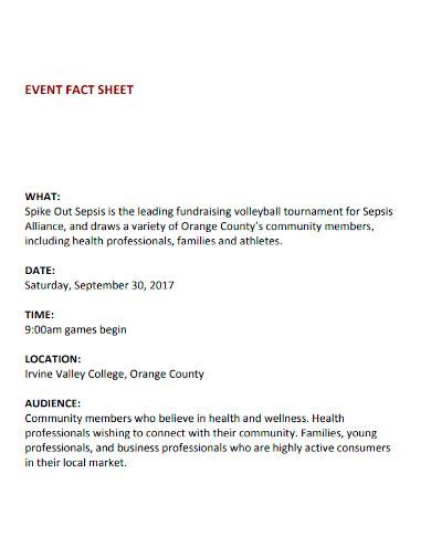 printable event fact sheet