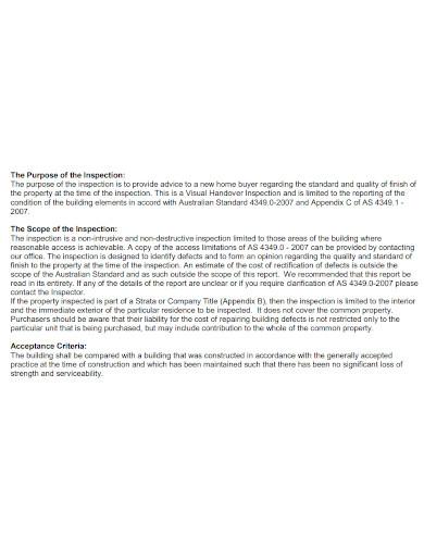 printable handover inspection report