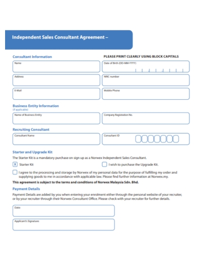 printable independent sales consultant agreement