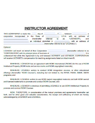 printable instructor agreement