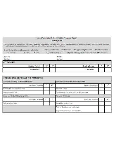 printable kindergarten progress report