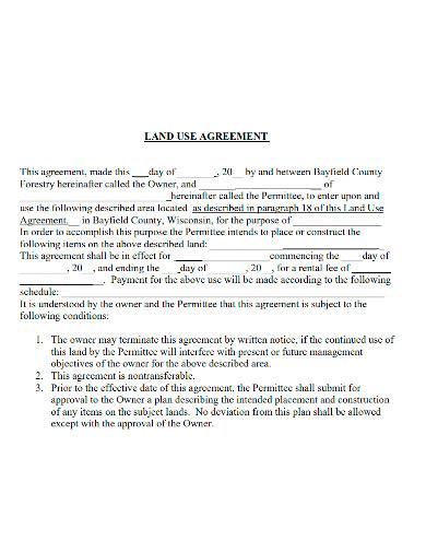 printable land use agreement