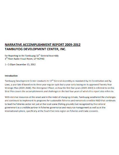 printable narrative accomplishment report