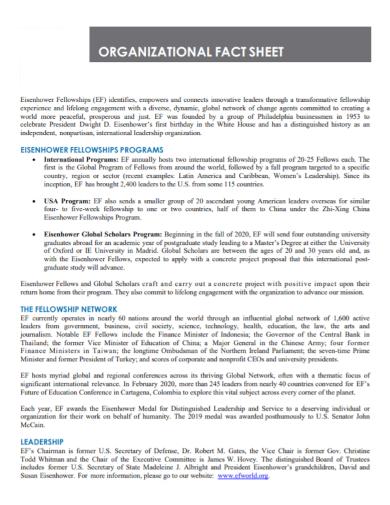 printable organizational fact sheet